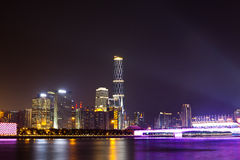 Guangzhou City Night. Guangzhou Bridge and Zhujiang New Town. Guangzhou is the center city of southern China, the Pearl River night is most beautiful scenery Stock Photos