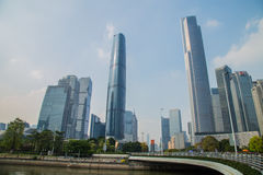 Guangzhou City, the Pearl River Metro CBD financial and commercial center, Guangzhou landmarks, South and North. Royalty Free Stock Photo