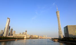 City skyline Guangzhou Canton tower. View of Canton tower and Zhujiang River. Guangzhou city skyline. Urban scenery of Guangzhou City, Guangdong (Canton) stock image