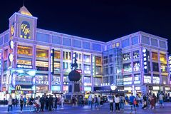 Guangzhou - Dongji Xintiandi Shopping Mall at night. Dongji Xintiandi Shopping Mall at night. The mall is at the heart of Guangzhou`s famous Shangxia Jiu Royalty Free Stock Photography