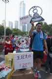 Guangzhou Evergrande win the AFC Champions League,Fans from around the country before the game photo Stock Photos