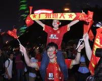 Guangzhou Evergrande wint de AFC Kampioenenliga, Gekke ventilators Stock Afbeelding