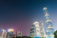 Guangzhou financial district at night Royalty Free Stock Images
