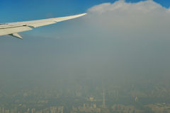 China landmarks in the haze,air pollution in China,Air pollution of china city,canton tower in haze Stock Photography
