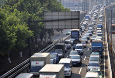 Guangzhou heavy traffic jam and air pollution Royalty Free Stock Images