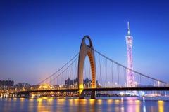 Guangzhou in het zonsondergangogenblik royalty-vrije stock afbeeldingen