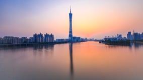 Guangzhou in het zonsondergangogenblik stock foto