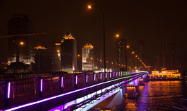 Guangzhou Jiangwan bridge at night Royalty Free Stock Photography