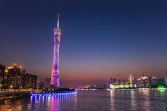 Guangzhou kantonu lub wierza wierza, formalny Guangzhou TV Astronomiczny i Zwiedzający wierza zdjęcie stock