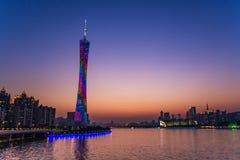 Guangzhou kantonu lub wierza wierza, formalny Guangzhou TV Astronomiczny i Zwiedzający wierza Fotografia Royalty Free