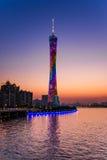 Guangzhou kantonu lub wierza wierza, formalny Guangzhou TV Astronomiczny i Zwiedzający wierza Obrazy Royalty Free