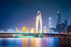 Guangzhou liede bridge at night Stock Photo
