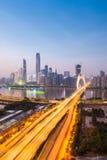 Guangzhou liede bridge in nightfall Stock Image