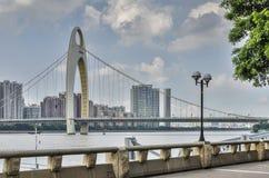 Guangzhou LiedeBridge, PearlRiver, neue Stadt Zhujiang Lizenzfreie Stockfotografie