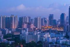 Guangzhou miasta scena przed świtem fotografia stock