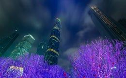Guangzhou mit hellen Lichtern Stockbild