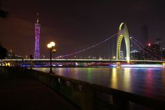 Guangzhou modern city landmark buildings of night scene Stock Images