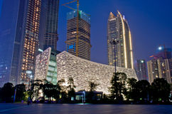 Guangzhou New Library at night stock image