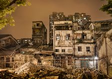 Guangzhou old buildings. Construction site in Guangzhou china, where old buildings are beinf destroyed Stock Photos