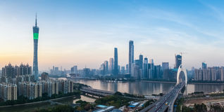 Guangzhou panorama. Panoramic view of guangzhou skyline at dusk royalty free stock photography