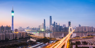 Guangzhou panorama w zmroku Fotografia Royalty Free