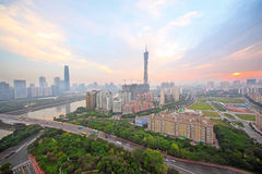 Guangzhou Pearl River, Canton TV Tower. International Finance Center in sunrise in Guangzhou, China Stock Photography