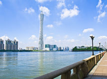 Guangzhou  Pearl river,Canton TV Tower. Guangzhou Pearl river, Canton TV Tower, International Finance Center, road, bridge in morning in Guangzhou, China Royalty Free Stock Photography