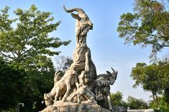 Guangzhou - Five Ram Sculpture. Guangzhou`s famous Five Ram Sculpture in Yuexiu Park stock images