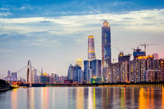 Guangzhou Skyline. Guangzhou, China city skyline on the Pearl River royalty free stock image