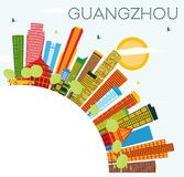 Guangzhou Skyline with Color Buildings, Blue Sky and Copy Space. Royalty Free Stock Images