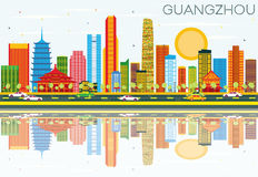 Guangzhou Skyline with Color Buildings, Blue Sky and Reflections. Vector Illustration. Business Travel and Tourism Concept with Modern Architecture. Image for Stock Illustration