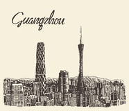 Guangzhou skyline vector illustration drawn sketch Royalty Free Stock Photos