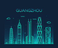 Guangzhou skyline vector illustration linear Royalty Free Stock Photos