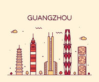 Guangzhou skyline vector illustration linear Stock Images