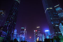 Guangzhou skyscrapers at dusk, China Royalty Free Stock Photo