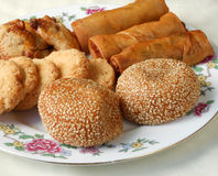 Guangzhou snack platter. Guangzhou assorted snack platter - sticky salty sesame balls, spring rolls and other royalty free stock photos
