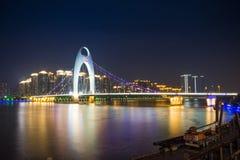 Guangzhou stadsnatt royaltyfri fotografi