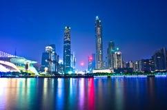 Guangzhou-Stadt-Nacht Stockbild