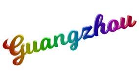 Guangzhou-Stadt-Name kalligraphisches 3D machte Text-Illustration gefärbt mit RGB-Regenbogen-Steigung Stockfotografie