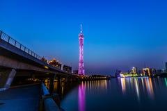 Guangzhou torn på natten Royaltyfria Bilder