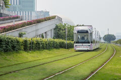 Guangzhou tourist attractions of rail vehicles, trams. Royalty Free Stock Image