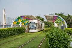 Guangzhou tourist attractions of rail vehicles, trams. Stock Photos
