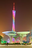 Guangzhou tower. The night scene of Guangzhou tower view from flower city plaza in Guangzhou, Guangdong of China stock photos