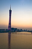 Guangzhou Tower at dusk. Royalty Free Stock Photo