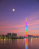 Guangzhou tower at the dusk Royalty Free Stock Photos