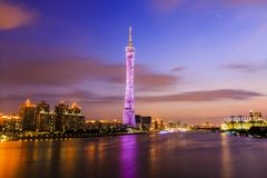 Guangzhou tower at night. Zhujiang River and modern building of financial district in guangzhou china stock photos
