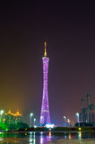 Guangzhou Tower in night city. Stock Photography
