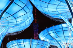 Tower at night. Guangzhou tower at night with colorful light Stock Image