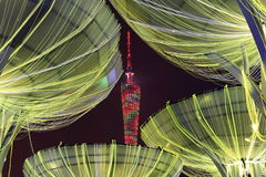 Tower at night. Guangzhou tower at night with colorful light Stock Photography