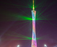 Guangzhou tower at night light show Stock Photo